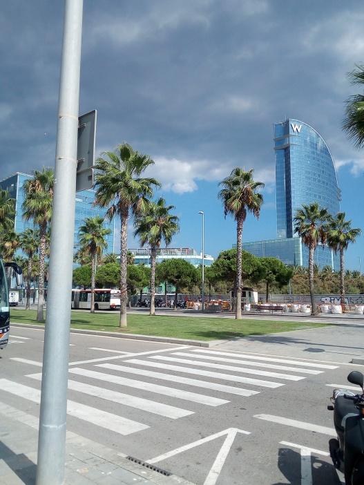Barcelona Shipyard front of W Barcelona Hotel