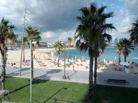 Barcelona Beach front of shipyard